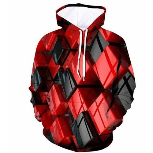 Mens Hoodies 3D Printing Geometric Cube Printed Hoody