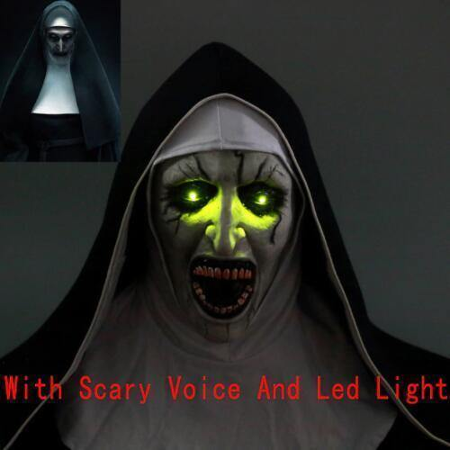 The Nun Valak Cosplay Horror Mask With Scary Voice With Led Light
