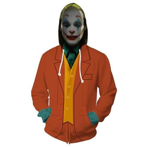 Unisex Arthur Fleck Hoodies  Movie Joker Zip Up 3D Print Jacket Sweatshirt