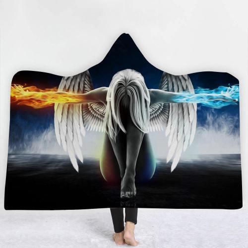 Fire & Water Angel 3D Hooded Blanket