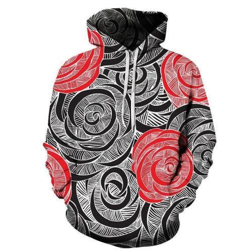 Red & Black Roses 3D Sweatshirt Hoodie Pullover