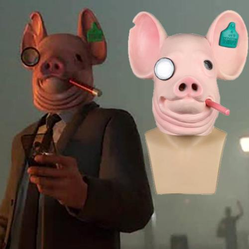 Game Watch Dogs: Legion Cosplay Legion Winston Pig Mask King Of Hearts Masks Halloween Party Prop
