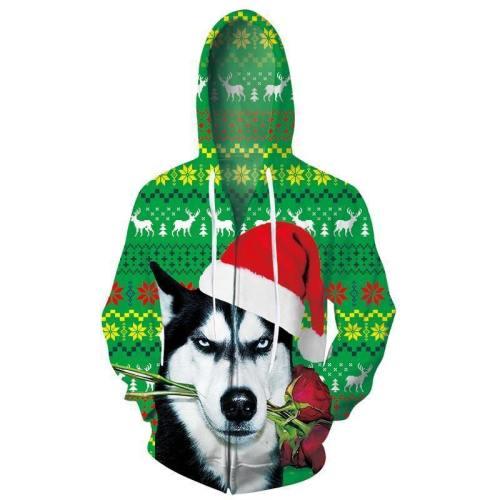 Mens Zip Up Hoodies Christmas Dog 3D Graphic Printing Hoody