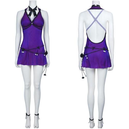 Final Fantasy Vii Remake-Tifa Lockhart Halloween Deep V Backless Dress Cosplay Costume