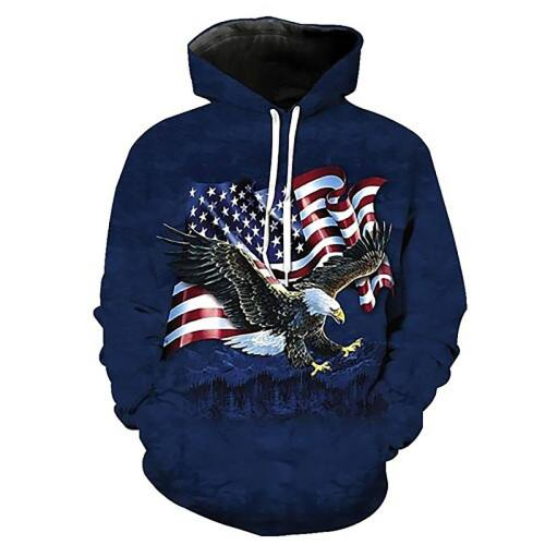 Flying Flag With On The Hunt Eagle Blue Hooded Sweatshirt