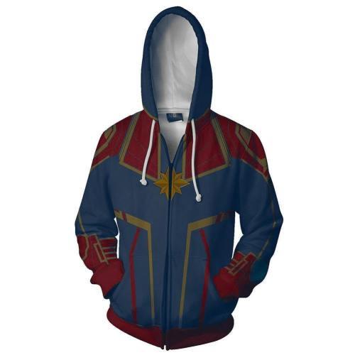 Captain Marvel Casual Hooded Coat Jacket Top Hoodie Zipper Sweats