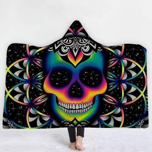 Psychedelic Skull Hooded Blanket