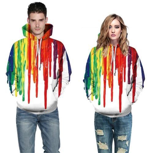 Mens Hoodies 3D Printed Colorful Painting Printing Sweatshirts
