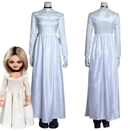 Bride Of Chucky Tiffany Long Dress Outfits Halloween Carnival Suit Cosplay Costume