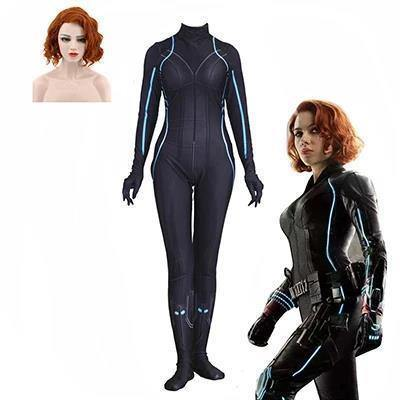 Halloween Black Widow Natalia Wig Jumpsuit Cosplay Woman Costumes
