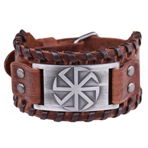 Sun Wheel Talisman Charm Cuff Leather Wrap Bracelet