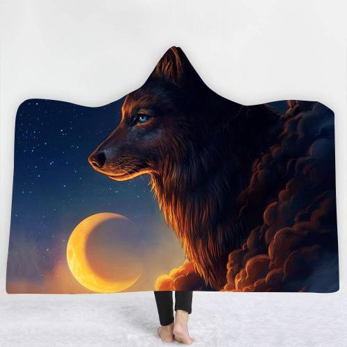 Midnight Moon Wolf Hooded Blanket