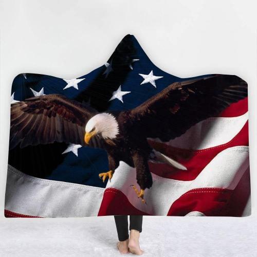 Exclusive:  Soaring Eagle Usa Flag Hooded Blanket