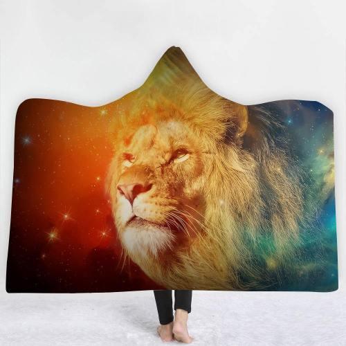 Color Burst Brave Lion Version 2 Hooded Blanket