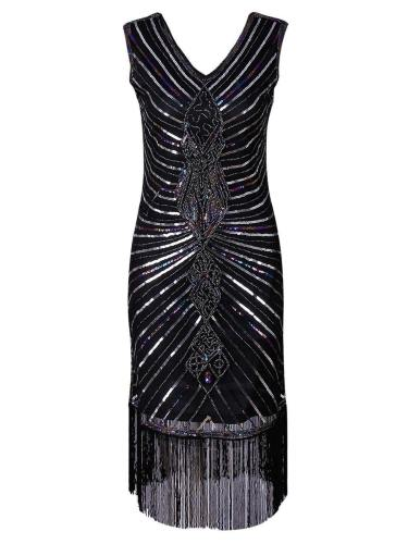 Quality  Braided Sequined Fringed Dress