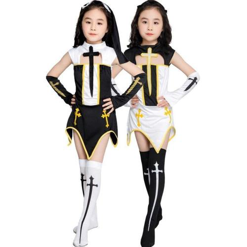 Priest Nun Missionary Medieval Halloween Cosplay Costumes For Girls