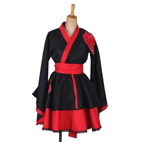 Naruto Shippuden Akatsuki Organization Female Lolita Kimono Dress Anime Cosplay Costume