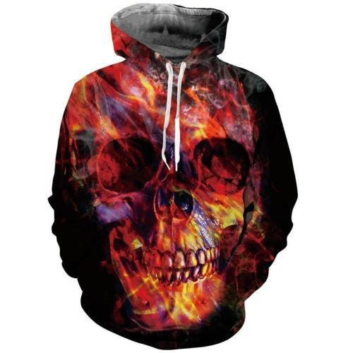 Mens Hoodies 3D Printing Skull Printed Winter Hoodies Tracksuits