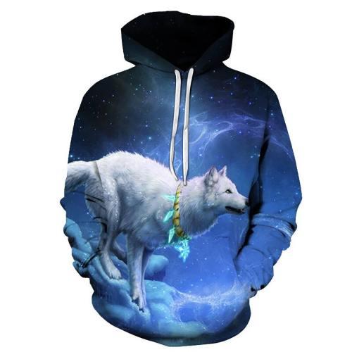 Starry Night Sky White Wolf Hooded Sweatshirt