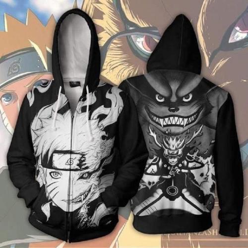Naruto Hoodies - Naruto Kurama 9 Tails Zip Up Hoodie