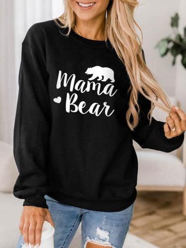 Womens Crewneck Sweatshirt Mama Bear Pullover Top