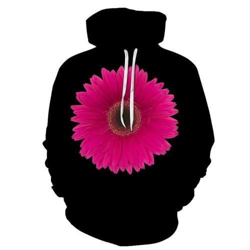 Pink Flower Black 3D Sweatshirt Hoodie Pullover