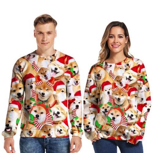 Mens Pullover Sweatshirt 3D Printed Christmas Cute Dog Party Long Sleeve Shirts