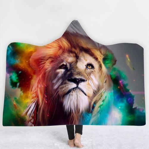 Color Burst Brave Lion Version 1 Hooded Blanket