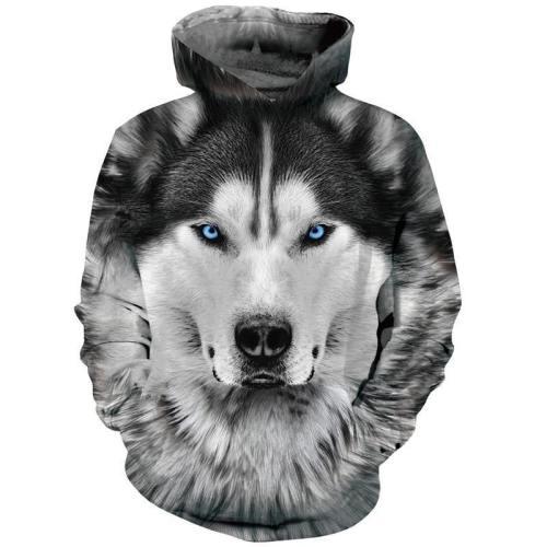 Mens Hoodies 3D Printing Wolf Face Printed Hoody