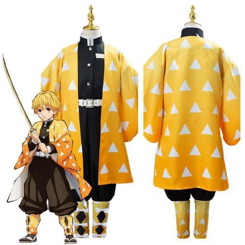Anime Demon Slayer Kimetsu No Yaiba Agatsuma Zenitsu Uniform Outfit Cosplay Costume For Kids Children
