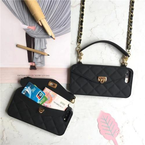 Quilted Pattern Wallet Phone Case With Hand Strap And Crossbody Chain