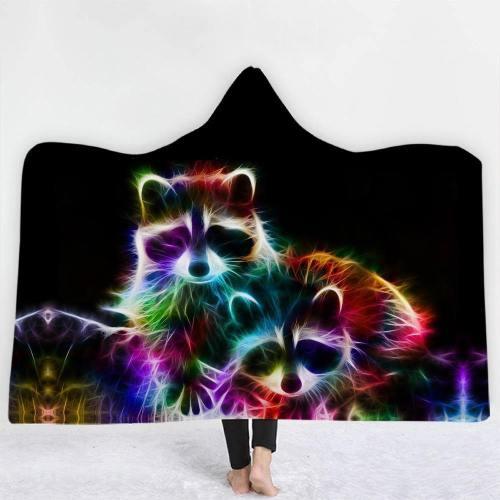 Neon Colored Raccoons Hooded Blanket