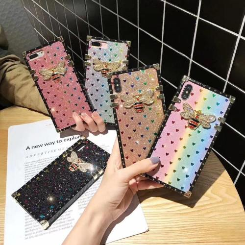Luxury Bee Glitter Hearts Phone Case