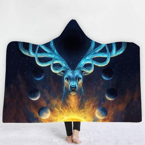 Limited Design: Gentle Heart Spiritual Deer Hooded Blanket