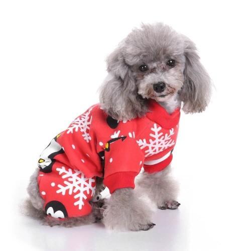 Christmas Snowflake Penguin Pattern Pet Costume