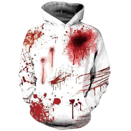 Mens Halloween Hoodies 3D Printing Blood Pattern Hoody