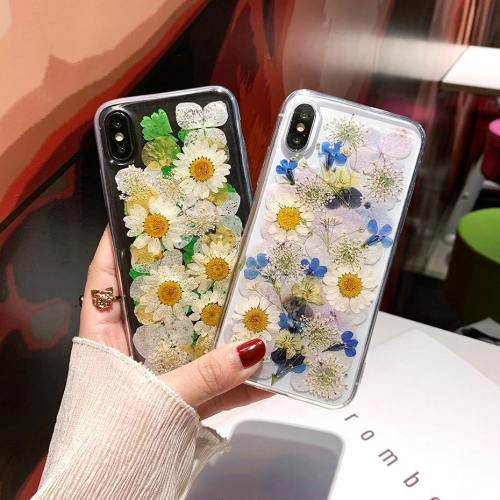 3D Real Dried Daisy Pressed Flowers Silicone Phone Case
