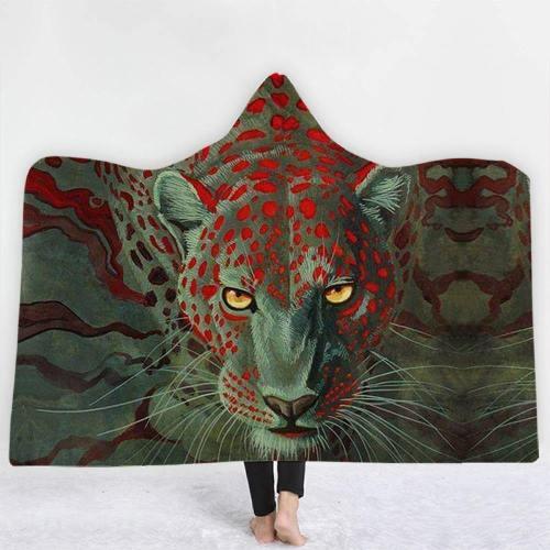 Brave Leopard In Green Hooded Blanket