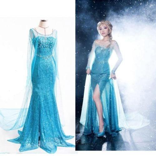 Women Adult Frozen Elsa Anime Dress Cosplay Performance Clothing