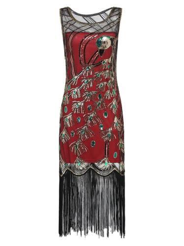 Round Neck Sleeveless Peacock Skirt