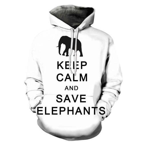 Keep Calm And Save Elephants 3D - Sweatshirt, Hoodie, Pullover