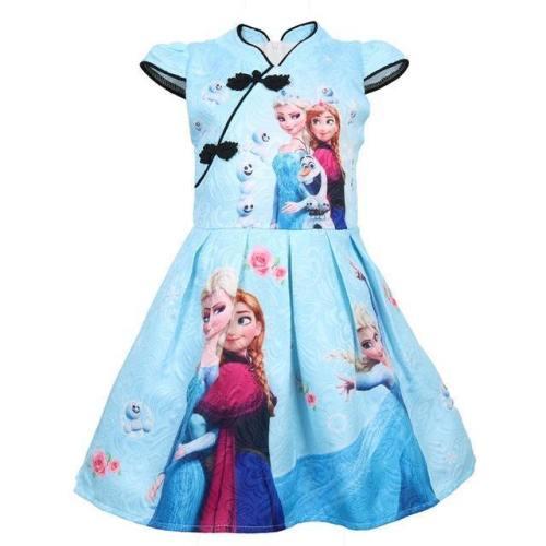 Frozen Elsa Cartoon Baby Cheongsam Clothing Girls Cotton Dress Costume