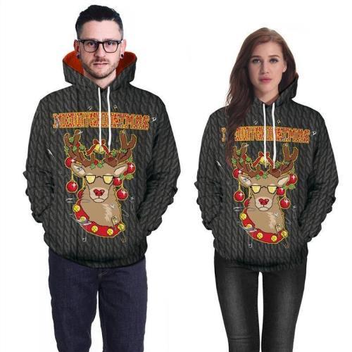 Mens Black Hoodies 3D Graphic Printed Merry Christmas Cool Deer Pullover