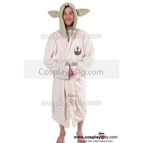 Star Wars Yoda Jedi Ears Fleece Bathrobe Hooded Robe Costume Adult Size