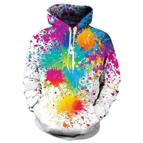 Mens Hoodies 3D Printing Paint Printed Winter Hoodies Tracksuits