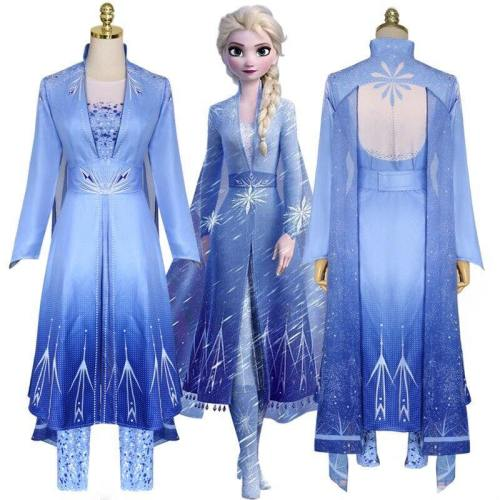 Frozen 2 Princess Elsa Cosplay Adult Dress Wig Halloween Costumes