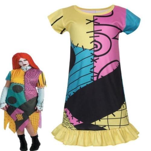 Kids Girls The Nightmare Before Christmas Sally Dress Cosplay Costume