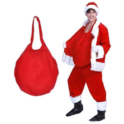 Red Mens Santa Claus Belly Cosplay Christmas Costume Adult Pot Belly Father Christmas Carnival Party Accessories
