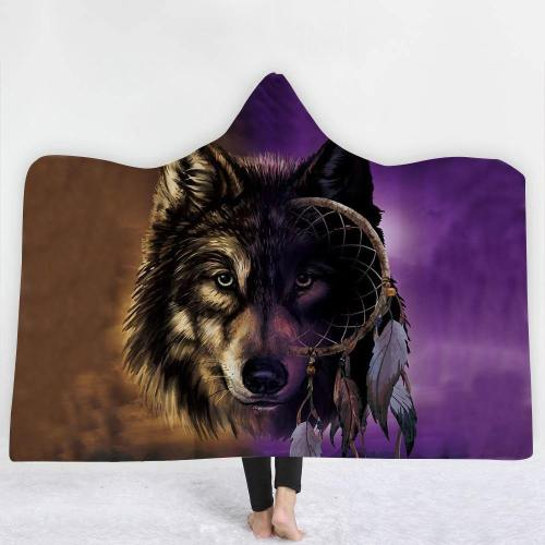 Tribal And Ethnic Wolf Hooded Blanket