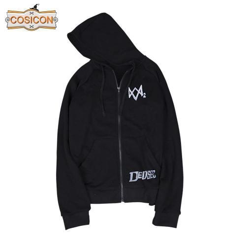 Watch Dogs 2 Catcher Hoodies   Man Sweatshirts Black Cosplay Jackets Zipper